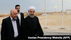 بازدید حسن روحانی رئیس جمهوری و بیژن نامدار زنگنه وزیر نفت ایران از فاز ۱۲ میدان گازی پارس جنوبی - بهار ۱۳۹۴