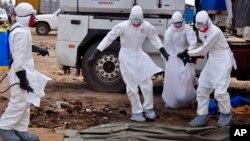 Nhân viên y tế thu nhặt xác một nạn nhân chết vì ebola trên đường phố thủ đô Liberia. Tổ chức Y tế Thế giới cho biết có thêm 84 người thiệt mạng ở Tây Phi vì dịch Ebola, nâng tổng số tử vong của dịch này lên tới 1,229 người.