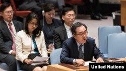 조태열 유엔주재 한국대사가 지난 9월 새 대북제재결의 2375호를 채택한 유엔 안보리 회의에서 발언하고 있다.