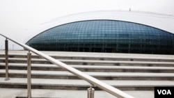 "The oval-shaped ""Bolshoy"" Ice Dome will host hockey matches in Sochi, March 15, 2013. (VOA/V. Undritz)"