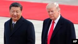 中國國家主席習近平在北京人大會堂迎接到訪的美國總統特朗普。 (2017年11月9日)