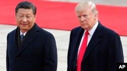 2017年11月9日美國總統特朗普與中國國家主席習近平在北京人民大會堂舉行的歡迎儀式上。