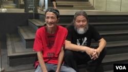 廣州詩人浪子(左)和詩人孟浪