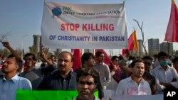 10일 거리 시위에 나선 파키스탄의 기독교 신자들.