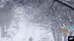 美國紐約州州府奧爾巴尼的街頭雪景