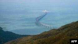 Une section du pont Hong Kong-Zhuhai-Macau (HKZMB) à Hong Kong, le 7 octobre 2018.