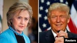 美國共和黨總統候選人川普(右)和民主黨候選人希拉里克林頓(左)相互抨擊。