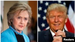 U.S. Democratic presidential candidate Hillary Clinton (L) and Republican U.S. presidential candidate Donald Trump (R) in Los Angeles, California on May 5, 2016 and in Eugene, Oregon, U.S. on May 6, 2016 respectively.