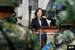 Taiwan President Tsai Ing-wen delivers her address to soldiers amid the COVID-19 coronavirus