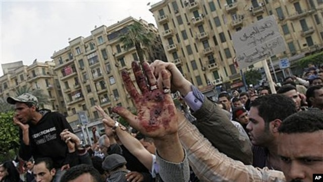 A protester holds up a bloodied hand following an attack by security forces in Tahrir Square, in Cairo, Egypt, April 9, 2011