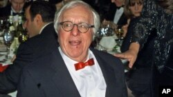 A November 2000 file photo shows science fiction writer Ray Bradbury at the National Book Awards in New York.
