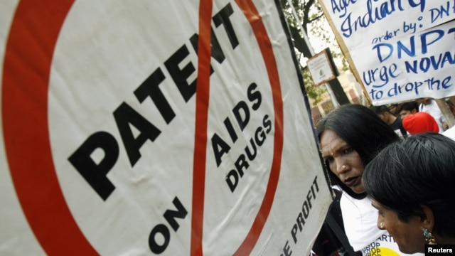 Indians suffering from HIV/AIDS attend a protest against the drugs manufacturer Novartis in New Delhi, India, January 29, 2007. Novartis is challenging a specific provision of the law that restricts the patenting of medicines to innovations only.