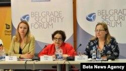 Predsednica Beogradskog foruma za političku izuzetnost Sonja Liht, generalna sekretarka Evropskog pokreta u Srbiji Maja Bobić i direktorka Beogradskog centra za bezbednosnu politiku Sonja Stojanović.