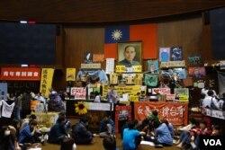 占领立法院的台湾学生