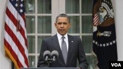Presiden Obama memberikan penjelasan di Gedung Putih mengenai operasi militer Amerika di Libya dan memberi pernyataan soal kematian Gaddafi (20/10).