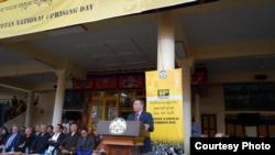 杨建利2019年3月10日在达兰萨拉集会上发言(公民力量照片)
