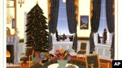 Salah satu kartu Natal Gedung Putih rancangan seniman dari Litchfield, Connecticut,Thomas Mc. Knight, yang menampilkan gambar Ruang Biru di Gedung Putih. (Foto: Dok).