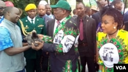 President Emmerson Mnangagwa with members of his Zanu PF party.