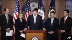 From left, House Ways and Means Committee Chairman Rep. Dave Camp, R-Mich., Rep. Diane Black, R-Tenn., House Budget Committee Chairman, Rep. Paul Ryan, R-Wis., Republican Conference Chairman Rep. Jeb Hensarling, R-Texas, and House Majority Leader Eric Can