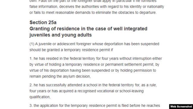 Điều khoản 25a của Luật Cư trú Đức. Photo germanlawarchive.iuscomp.org