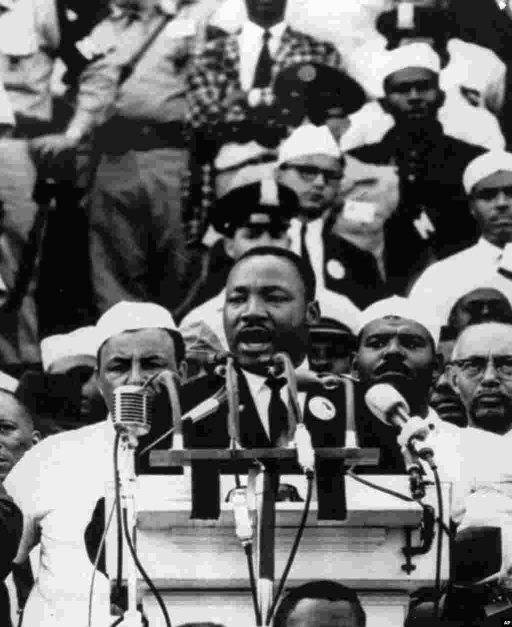"Martin Luther King Jr. addresses marchers during his ""I Have a Dream"" speech at the Lincoln Memorial in Washington, August 28, 1963."