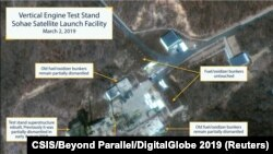 The Sohae Satellite Launching Station features what researchers of Beyond Parallel, a CSIS project, describe as the vertical engine stand partially rebuilt with two construction cranes, several vehicles and supplies laying on the ground in a commercial sa