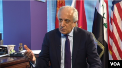 FILE - Zalmay Khalilzad, a former U.S. ambassador to Afghanistan, Iraq and the U.N., speaks to VOA's Afghan service in Washington, March 30, 2017. It was announced Sept. 4, 2018, that he has been named a special adviser on seeking reconciliation in Afghanistan.