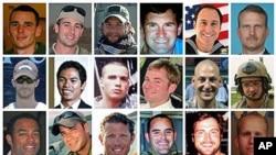 8月6日在阿富汗东部被叛乱分子击落的一架契努克直升机上的30名美国军人照片