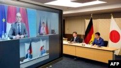 日本外务大臣茂木敏充和防卫大臣岸信夫与德国外长马斯举行视频会议。(2021年4月13日)