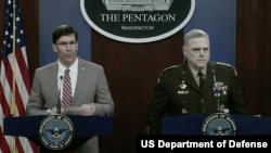 美国国防部长埃斯珀与美军参联会主席米利上将共同见记者(美国国防部2020年3月2日视频截图)