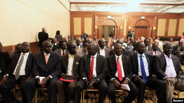 Members of South Sudan's rebel delegation are seen at the opening ceremony of peace talks in Ethiopia's capital Addis Ababa, Jan. 4, 2014.