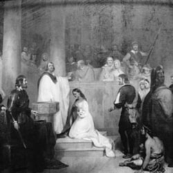This painting shows the religious ceremony in which Pocahontas became a Christian