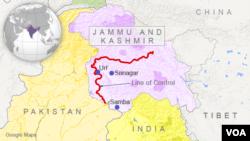 Peta wilayah Samba, Srinagar, Uri, Kashmir.