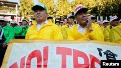 日本農民在東京舉行集會反對日本參加美國主導的跨太平洋貿易夥伴協定(TPP)(資料照片)。