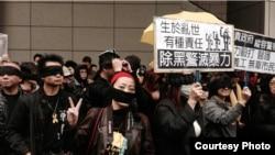 唐路在香港参加反警暴力游行(唐路推特图片)