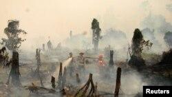 Polisi dan petugas pemadam kebakaran berusaha memadamkan kebakaran hutan di Rokan Hulu, provinsi Riau, Sumatera (28/8).