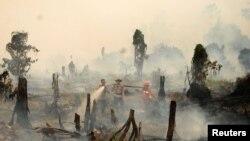 Polisi dan petugas pemadam kebakaran berupaya memadamkan api di hutan di Riau. (Foto: Dok)