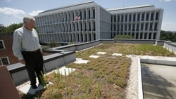 Green ideas are finding their way into many American cities. Here, a man stands on a green roof on a building in Washington, DC