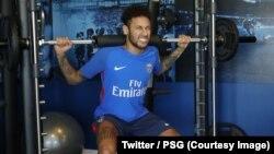 Neymar à l'entraînement dès son retour au Paris Saint-Germain, le 5 mai 2018. (Twitter/PSG)