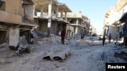 Un quartier tenu par les rebelles à Alep, Syrie, après des frappes aériennes, le 1er octobre 2016.