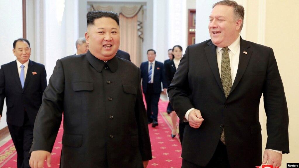 Ông Mike Pompeo trong một cuộc gặp với lãnh tụ Kim Jong Un.