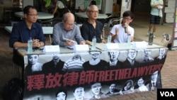 香港團體在中大舉行聲援中國維權律師講座(左起:蔡耀昌、林和立、張耀良、王澄烽,美國之音海彥拍攝)