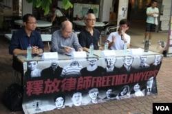 资料照:香港团体在中大举行声援中国维权律师讲座(左起:蔡耀昌、林和立、张耀良、王澄烽)