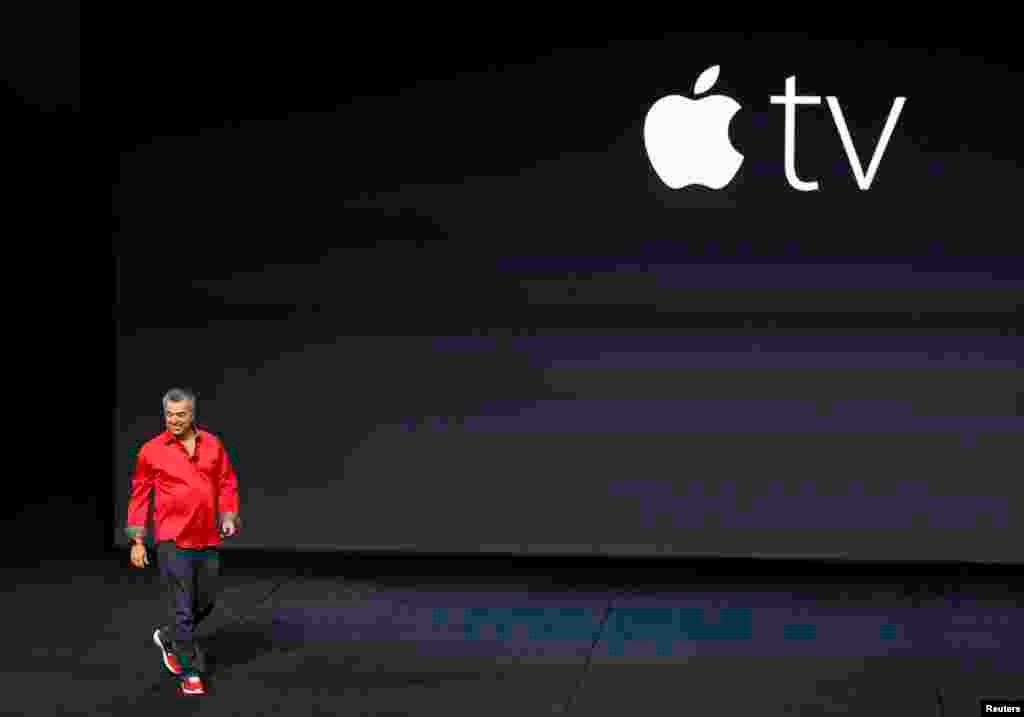 Eddie Cue, Apple's senior vice president of Internet Software and Services, takes the stage to discuss Apple TV during an Apple media event in San Francisco, California.