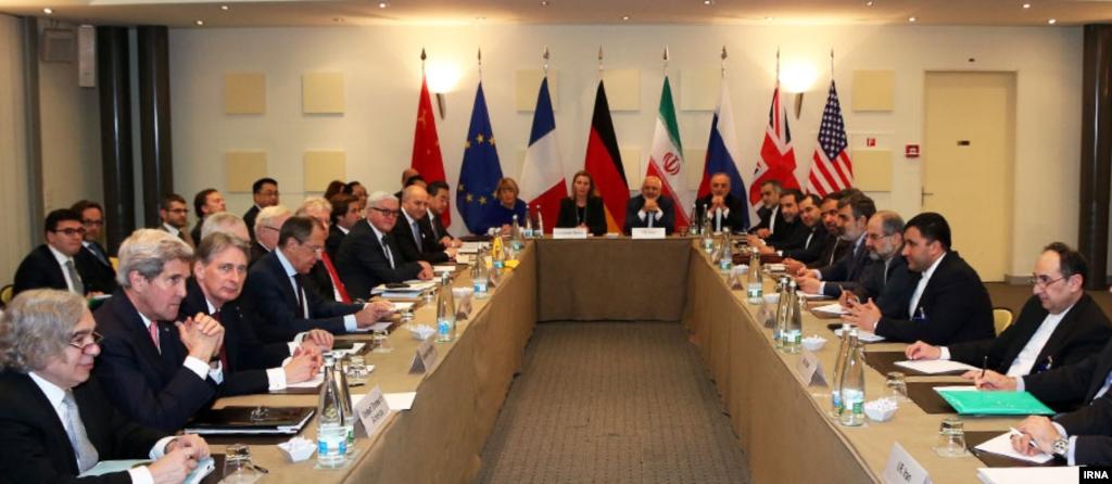 Para anggota P5 + 1 berkumpul untuk negosiasi-negosiasi nuklir Iran di Lausanne, Swiss (30/3).