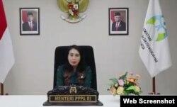 Menteri Pemberdayaan Perempuan dan Perlindungan Anak, Gusti Ayu Bintang, saat membuka seminar daring bertema mencegah stunting, Selasa (3/11). Screenshot: VOA/ Yudha Satriawan