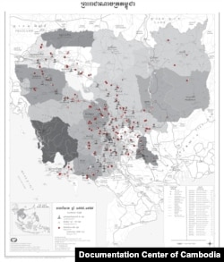 Cambodia's Killing Fields Map: The Documentation Center of Cambodia uses global satellite position mapping combined with fieldwork to document mass graves nationwide. To date, it has identified over 388 genocide sites containing more than 19,000 mass graves (these are defined as any pit containing 4 or more bodies, although some graves hold over 1,000) dating from the Khmer Rouge regime. The Center has documented 196 prisons from Democratic Kampuchea and 81 genocide memorials. (Source: Documentation Center of Cambodia Archive)