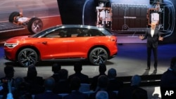 Volkswagen unveils a concept electric SUV, the whimsically named ID. ROOMZZ during the Auto Shanghai 2019 show in Shanghai, April 16, 2019.