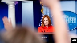 White House press secretary Jen Psaki takes a question from a reporter at a press briefing at the White House in Washington, Sept. 15, 2021.