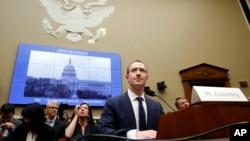 El CEO de Facebook, Mark Zuckerberg, en una imagen de archivo durante una audiencia ante el Comité de Energía y Comercio en la Cámara de Representantes, en Washington, el 11 de abril de 2018 (Foto: AP/Jacquelyn Martin)